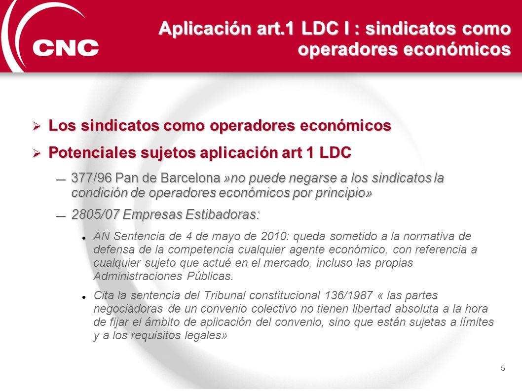 Aplicación art.1 LDC I : sindicatos como operadores económicos Los sindicatos como operadores económicos Los sindicatos como operadores económicos Pot