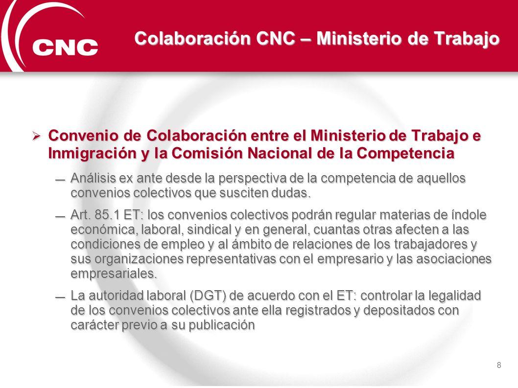 Colaboración CNC – Ministerio de Trabajo Convenio de Colaboración entre el Ministerio de Trabajo e Inmigración y la Comisión Nacional de la Competenci