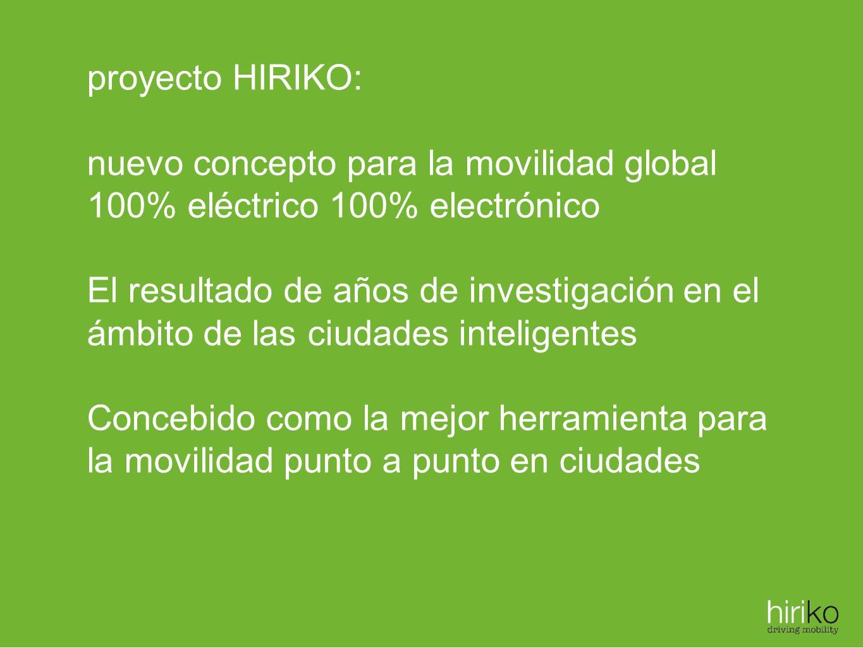 proyecto HIRIKO: nuevo concepto para la movilidad global 100% eléctrico 100% electrónico El resultado de años de investigación en el ámbito de las ciu