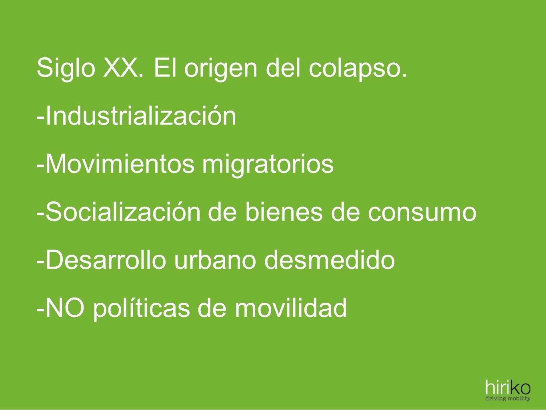 Siglo XX. El origen del colapso. -Industrialización -Movimientos migratorios -Socialización de bienes de consumo -Desarrollo urbano desmedido -NO polí