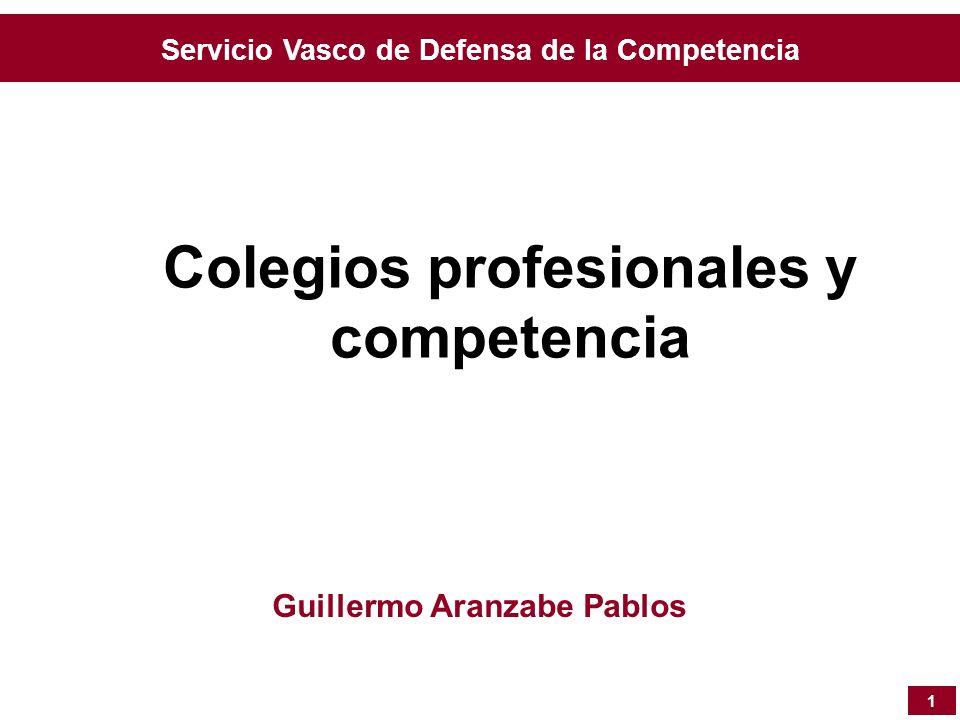 Servicio Vasco de Defensa de la Competencia Colegios profesionales y competencia 1 Guillermo Aranzabe Pablos