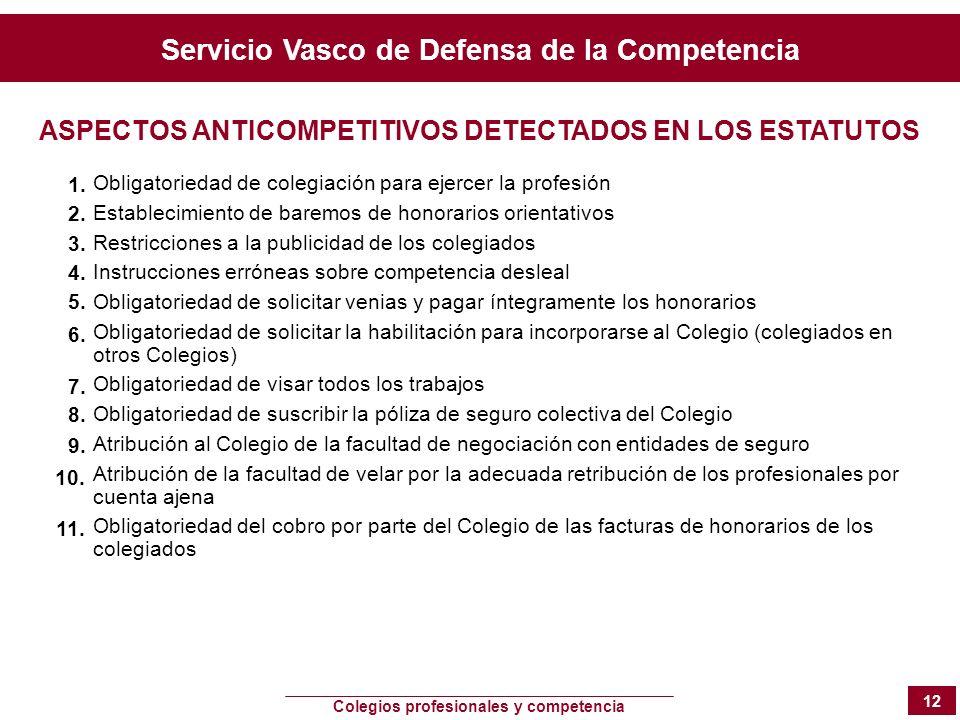 Servicio Vasco de Defensa de la Competencia Colegios profesionales y competencia 12 Obligatoriedad de colegiación para ejercer la profesión Establecim
