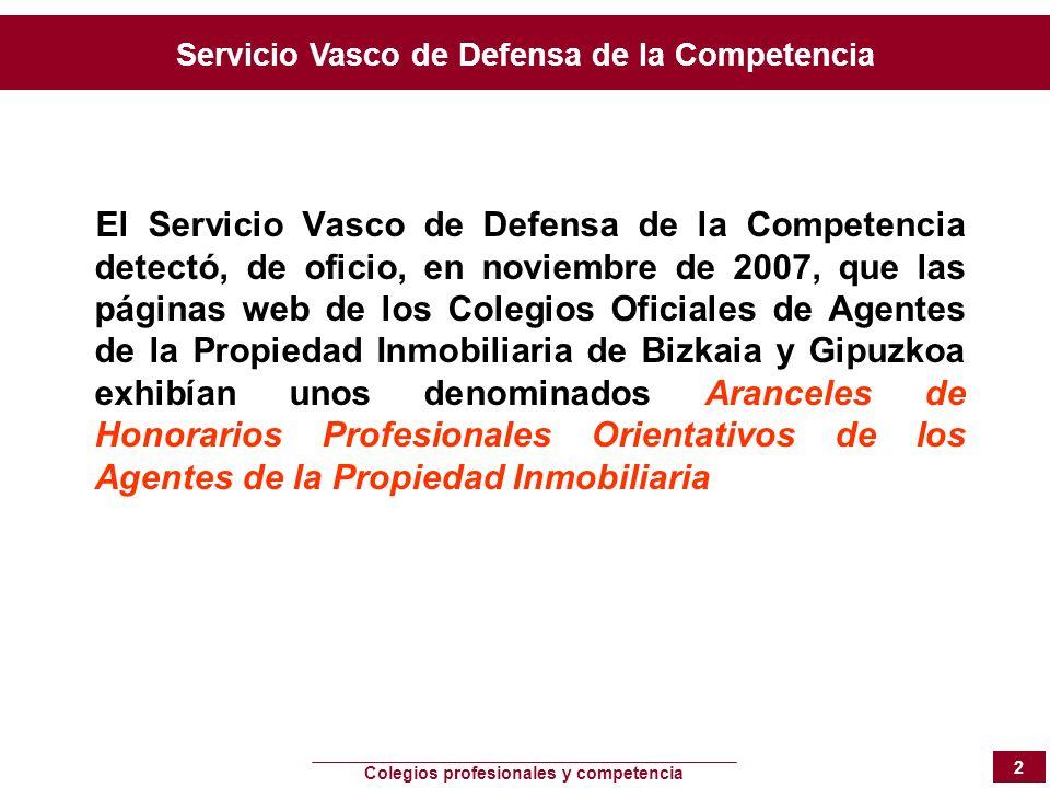 Servicio Vasco de Defensa de la Competencia Colegios profesionales y competencia 2 El Servicio Vasco de Defensa de la Competencia detectó, de oficio,
