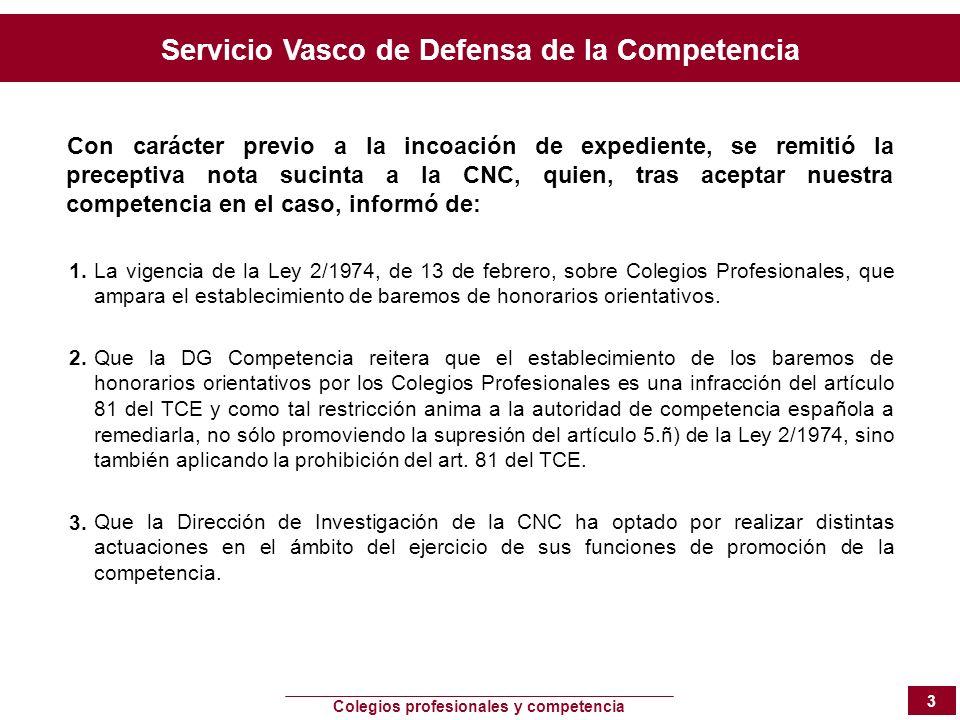 Servicio Vasco de Defensa de la Competencia Colegios profesionales y competencia 3 Con carácter previo a la incoación de expediente, se remitió la pre