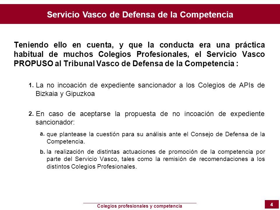 Servicio Vasco de Defensa de la Competencia Colegios profesionales y competencia 4 Teniendo ello en cuenta, y que la conducta era una práctica habitua