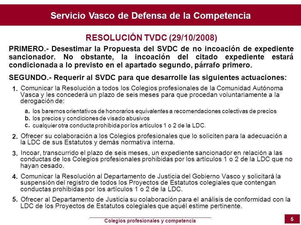 Servicio Vasco de Defensa de la Competencia Colegios profesionales y competencia 5 RESOLUCIÓN TVDC (29/10/2008) PRIMERO.- Desestimar la Propuesta del