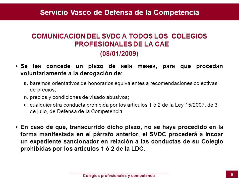 Servicio Vasco de Defensa de la Competencia Colegios profesionales y competencia 6 COMUNICACION DEL SVDC A TODOS LOS COLEGIOS PROFESIONALES DE LA CAE