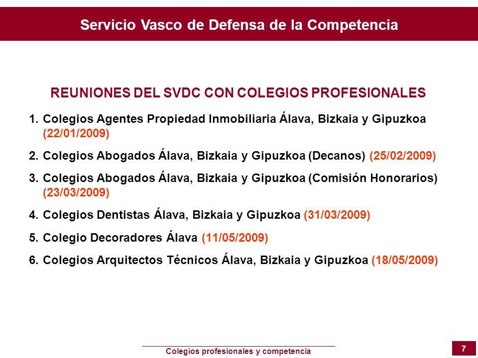 Servicio Vasco de Defensa de la Competencia Colegios profesionales y competencia 7 REUNIONES DEL SVDC CON COLEGIOS PROFESIONALES 1.Colegios Agentes Pr