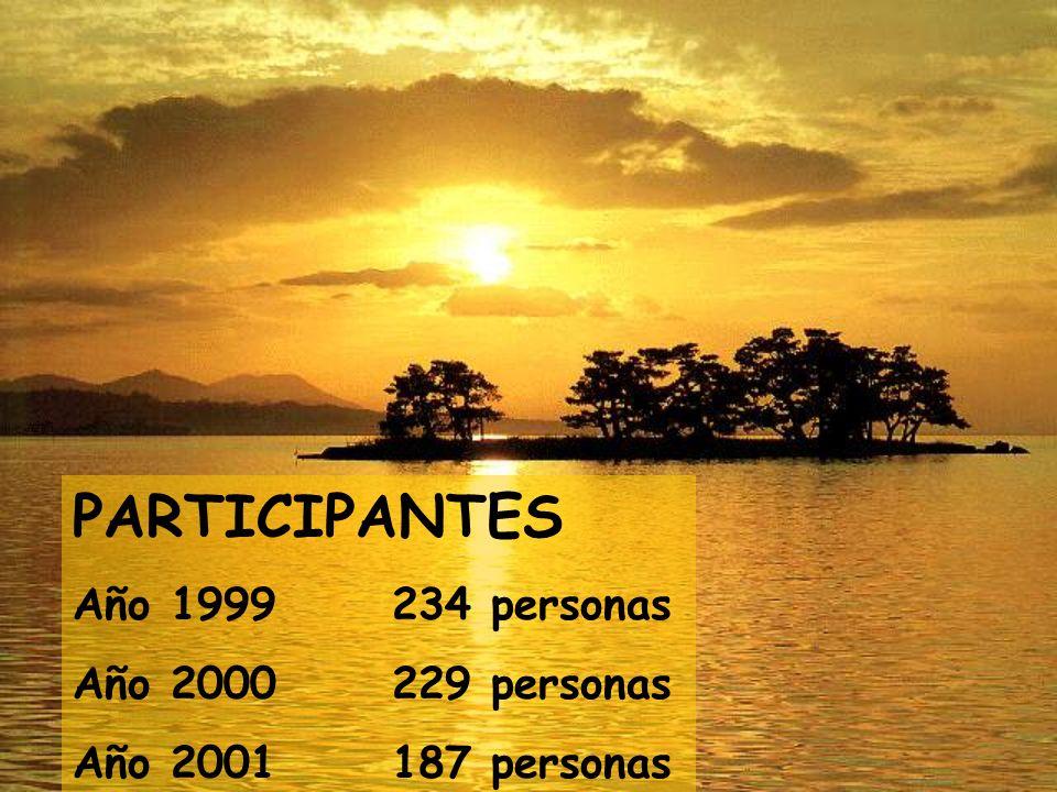 PARTICIPANTES Año 1999 234 personas Año 2000 229 personas Año 2001 187 personas