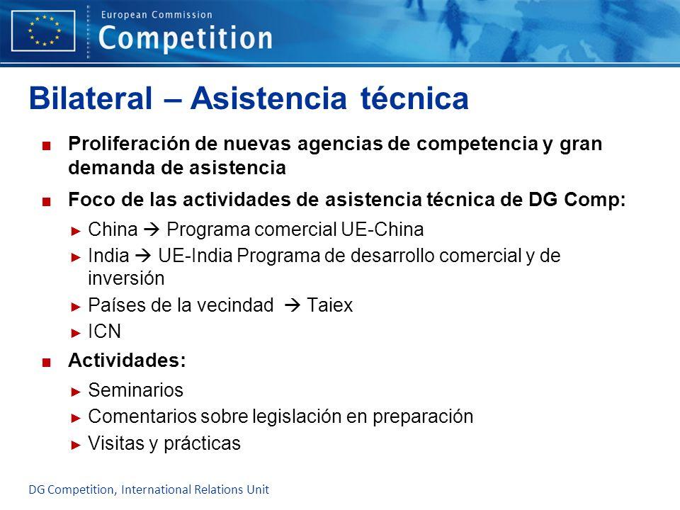 Bilateral – Asistencia técnica Proliferación de nuevas agencias de competencia y gran demanda de asistencia Foco de las actividades de asistencia técn