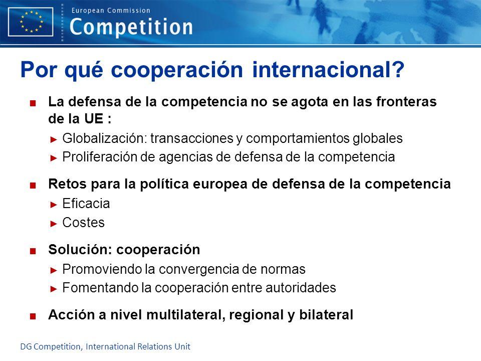 Por qué cooperación internacional? La defensa de la competencia no se agota en las fronteras de la UE : Globalización: transacciones y comportamientos