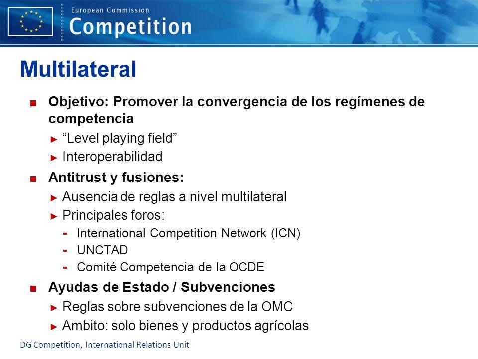 Multilateral Objetivo: Promover la convergencia de los regímenes de competencia Level playing field Interoperabilidad Antitrust y fusiones: Ausencia d