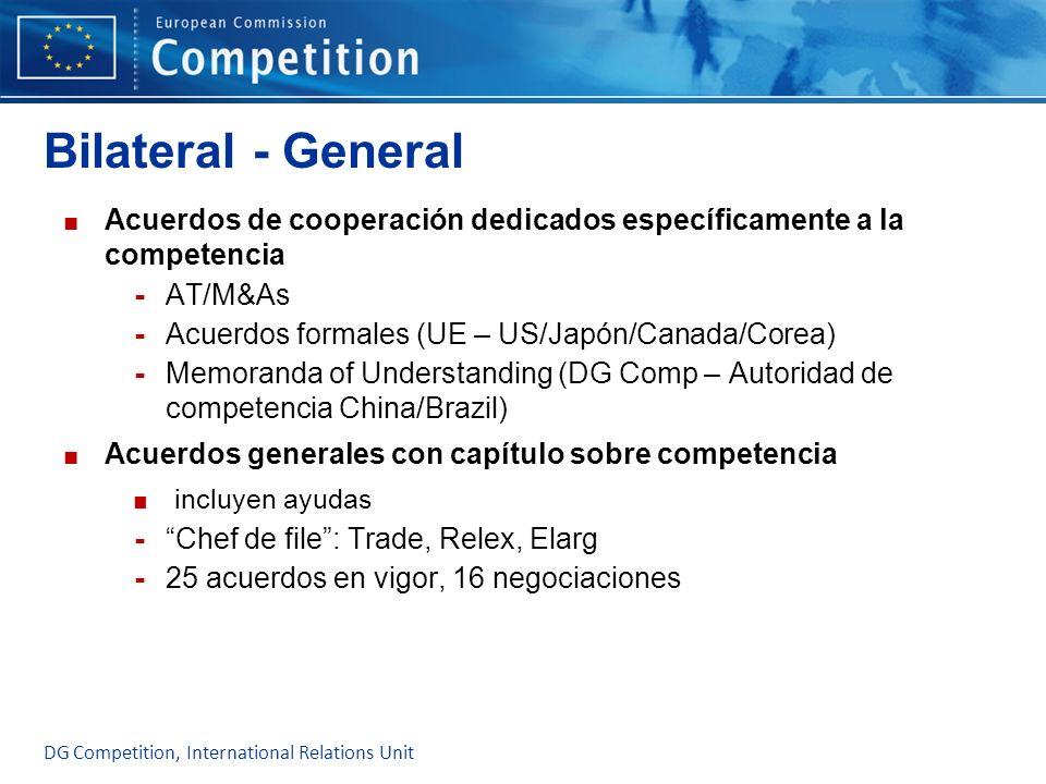 Bilateral - General Acuerdos de cooperación dedicados específicamente a la competencia - AT/M&As - Acuerdos formales (UE – US/Japón/Canada/Corea) - Me