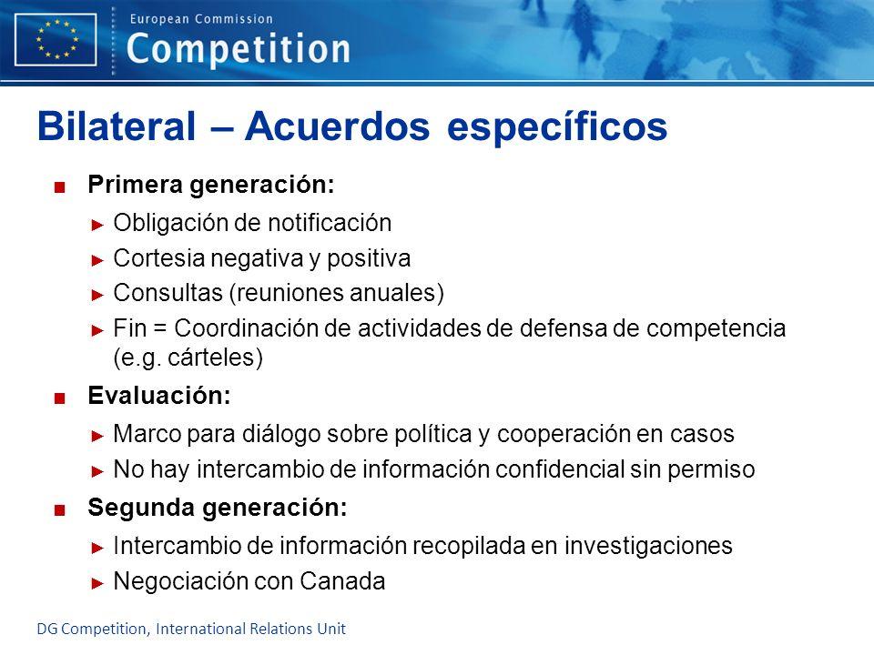 Bilateral – Acuerdos específicos Primera generación: Obligación de notificación Cortesia negativa y positiva Consultas (reuniones anuales) Fin = Coord