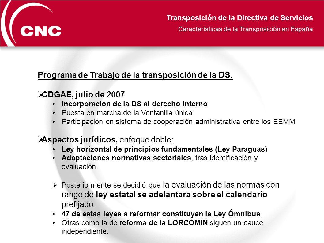 Transposición de la Directiva de Servicios Características de la Transposición en España Programa de Trabajo de la transposición de la DS.