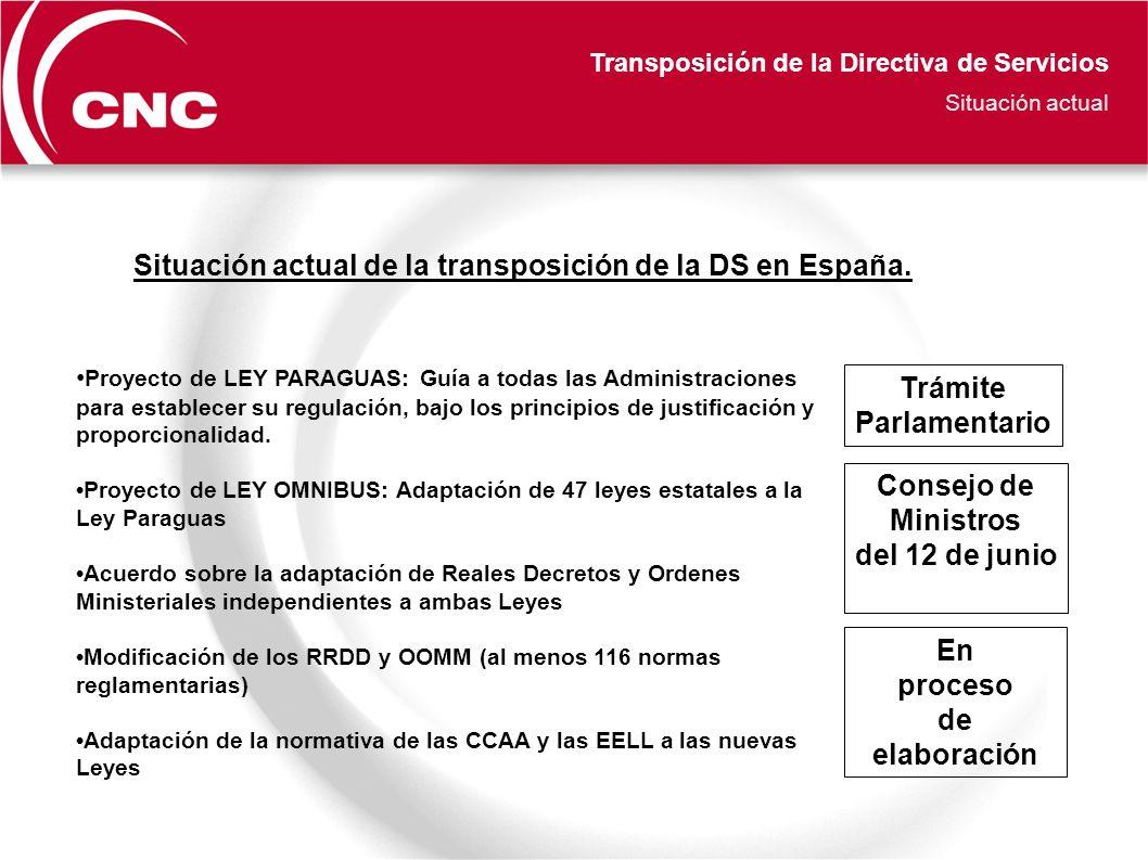 Transposición de la Directiva de Servicios Situación actual Proyecto de LEY PARAGUAS: Guía a todas las Administraciones para establecer su regulación, bajo los principios de justificación y proporcionalidad.