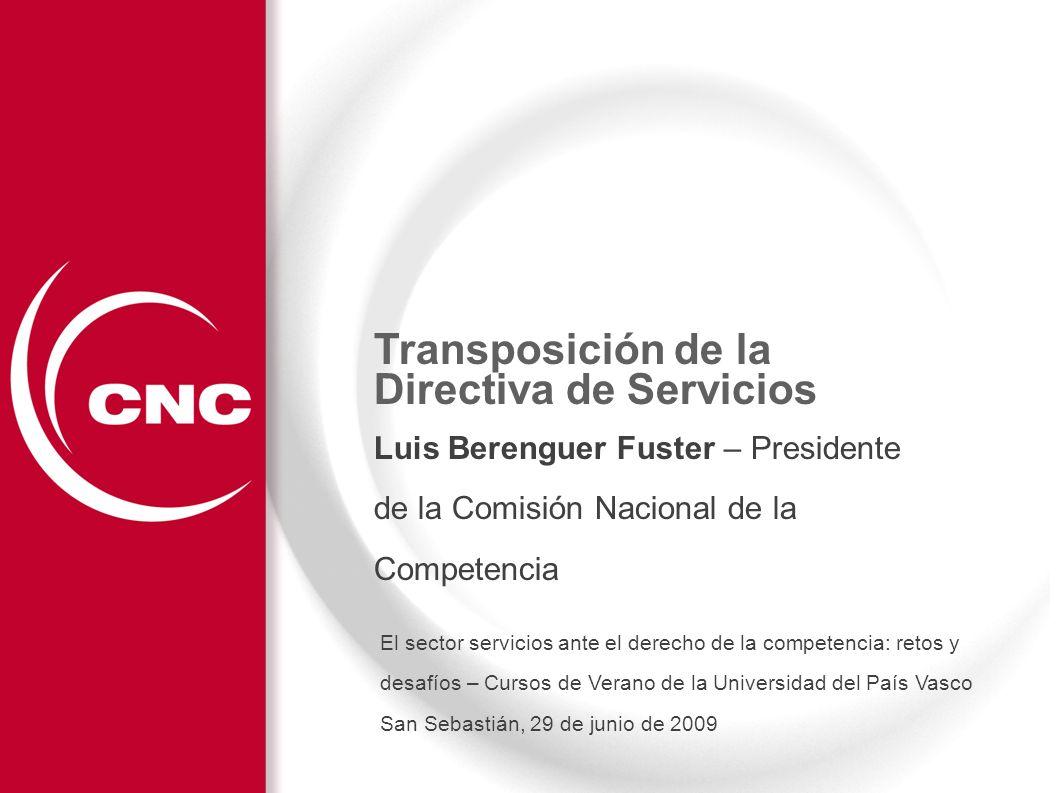 Transposición de la Directiva de Servicios Características de la Transposición en España Datos básicos sobre el sector servicios en España.