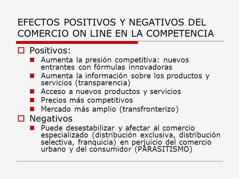 EFECTOS POSITIVOS Y NEGATIVOS DEL COMERCIO ON LINE EN LA COMPETENCIA Positivos: Aumenta la presión competitiva: nuevos entrantes con fórmulas innovado