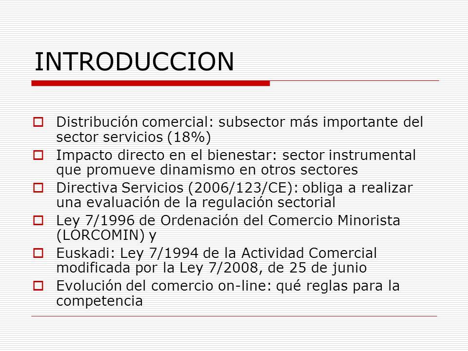 INTRODUCCION Distribución comercial: subsector más importante del sector servicios (18%) Impacto directo en el bienestar: sector instrumental que promueve dinamismo en otros sectores Directiva Servicios (2006/123/CE): obliga a realizar una evaluación de la regulación sectorial Ley 7/1996 de Ordenación del Comercio Minorista (LORCOMIN) y Euskadi: Ley 7/1994 de la Actividad Comercial modificada por la Ley 7/2008, de 25 de junio Evolución del comercio on-line: qué reglas para la competencia