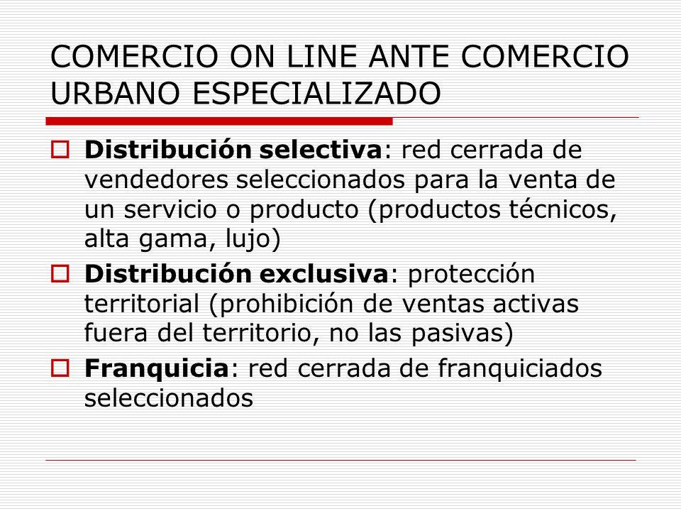 COMERCIO ON LINE ANTE COMERCIO URBANO ESPECIALIZADO Distribución selectiva: red cerrada de vendedores seleccionados para la venta de un servicio o pro
