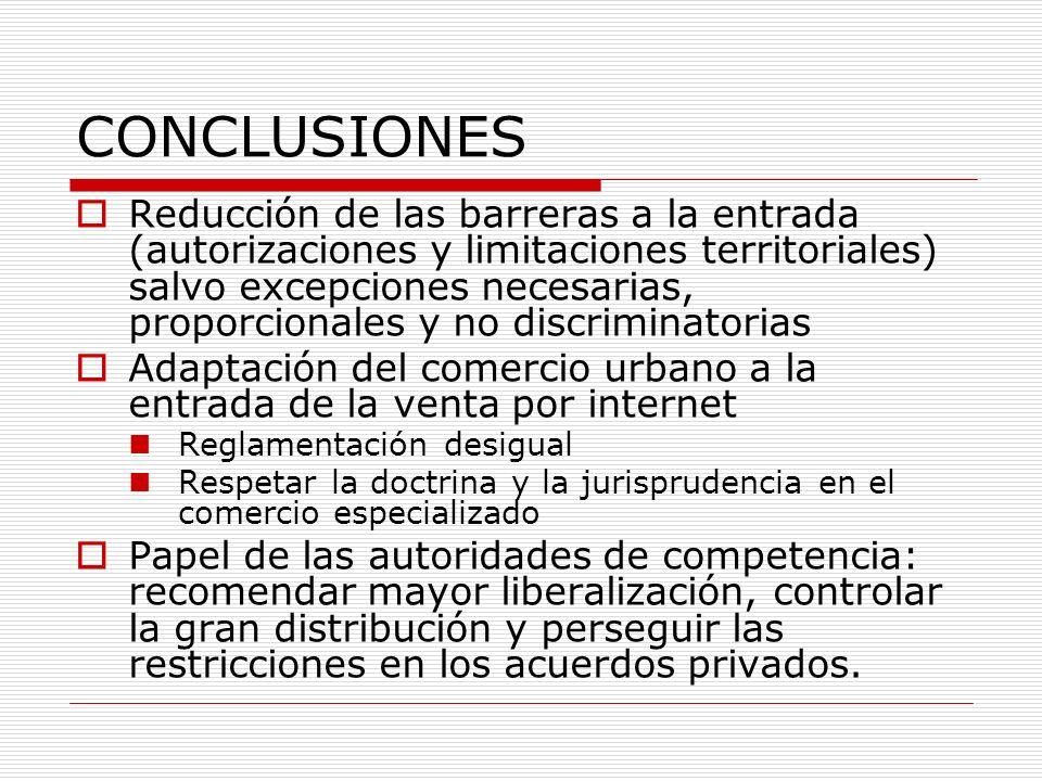 CONCLUSIONES Reducción de las barreras a la entrada (autorizaciones y limitaciones territoriales) salvo excepciones necesarias, proporcionales y no di