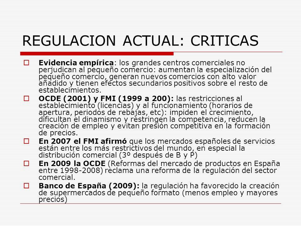 REGULACION ACTUAL: CRITICAS Evidencia empírica: los grandes centros comerciales no perjudican al pequeño comercio: aumentan la especialización del peq
