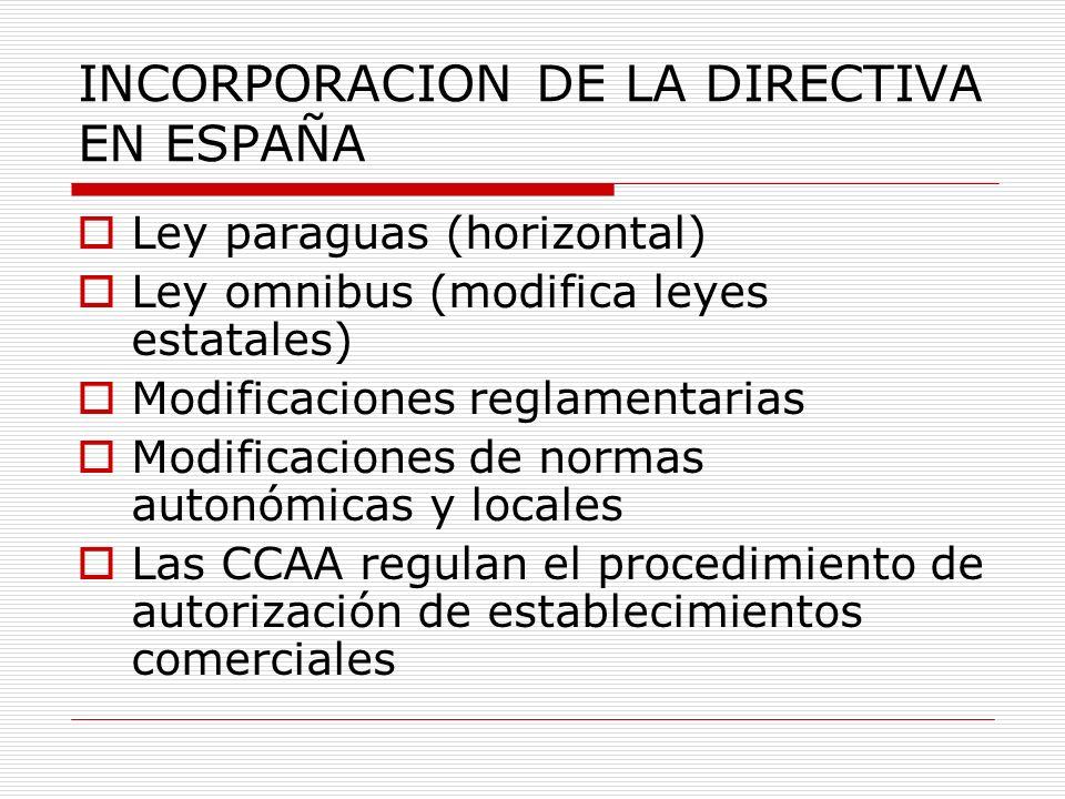 INCORPORACION DE LA DIRECTIVA EN ESPAÑA Ley paraguas (horizontal) Ley omnibus (modifica leyes estatales) Modificaciones reglamentarias Modificaciones de normas autonómicas y locales Las CCAA regulan el procedimiento de autorización de establecimientos comerciales