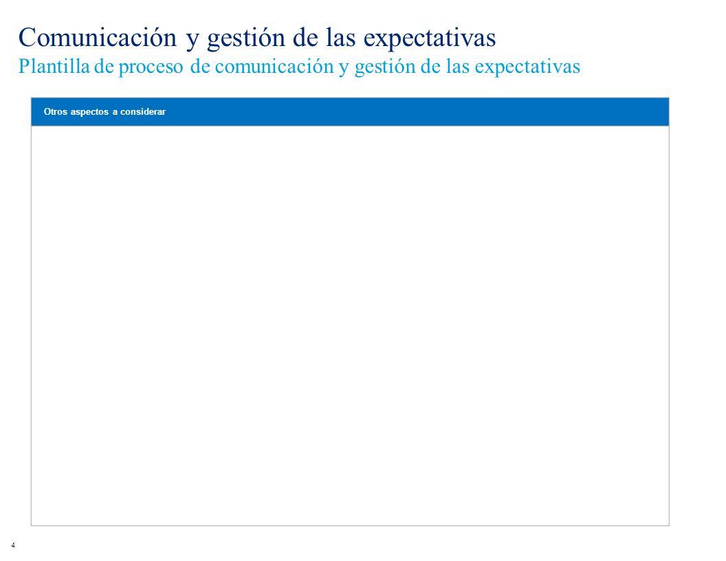 Comunicación y gestión de las expectativas Plantilla de proceso de comunicación y gestión de las expectativas 4 Otros aspectos a considerar