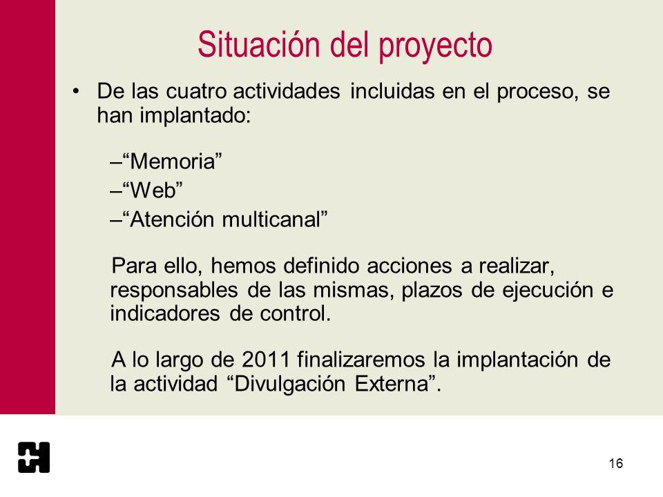 16 Situación del proyecto De las cuatro actividades incluidas en el proceso, se han implantado: –Memoria –Web –Atención multicanal Para ello, hemos de