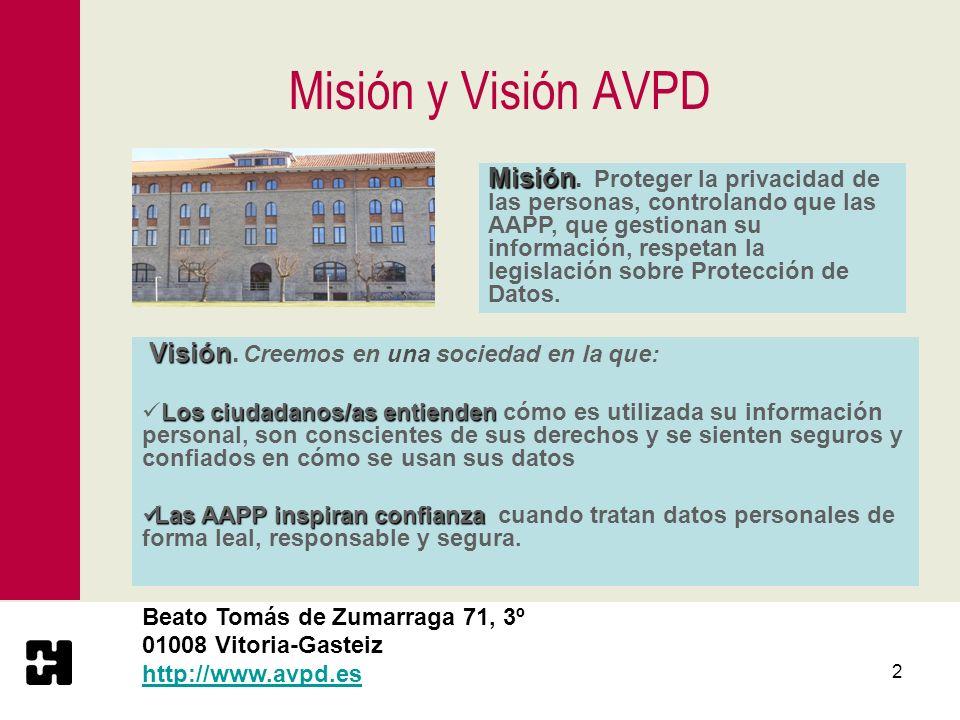 3 Organización de la AVPD AVPDConsejo Consultivo Director 15 personas 6 representantes de las Instituciones