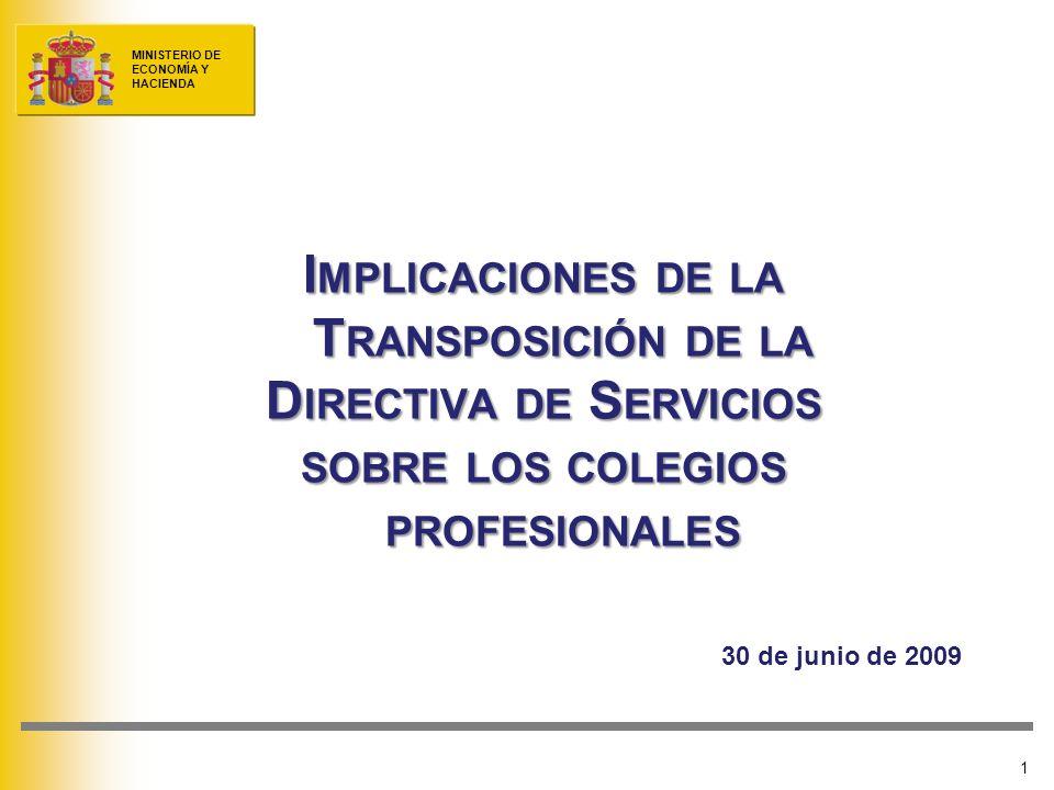 MINISTERIO DE ECONOMÍA Y HACIENDA 1 I MPLICACIONES DE LA T RANSPOSICIÓN DE LA D IRECTIVA DE S ERVICIOS SOBRE LOS COLEGIOS PROFESIONALES 30 de junio de 2009