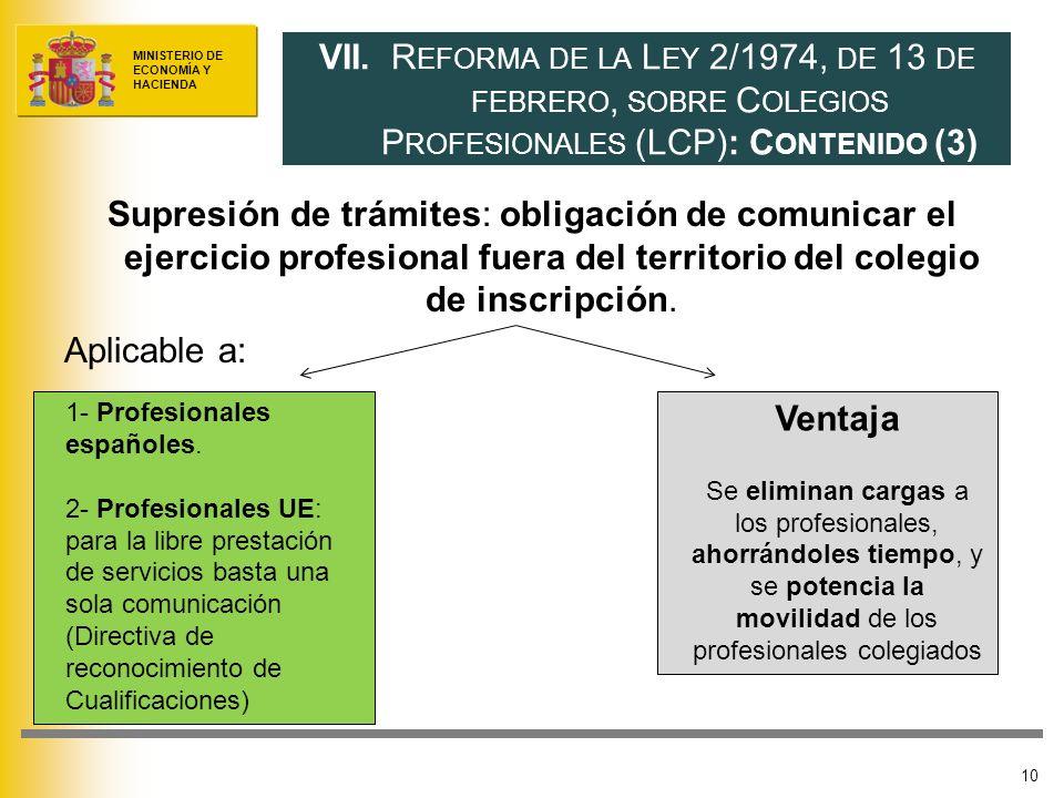 MINISTERIO DE ECONOMÍA Y HACIENDA Supresión de trámites: obligación de comunicar el ejercicio profesional fuera del territorio del colegio de inscripción.
