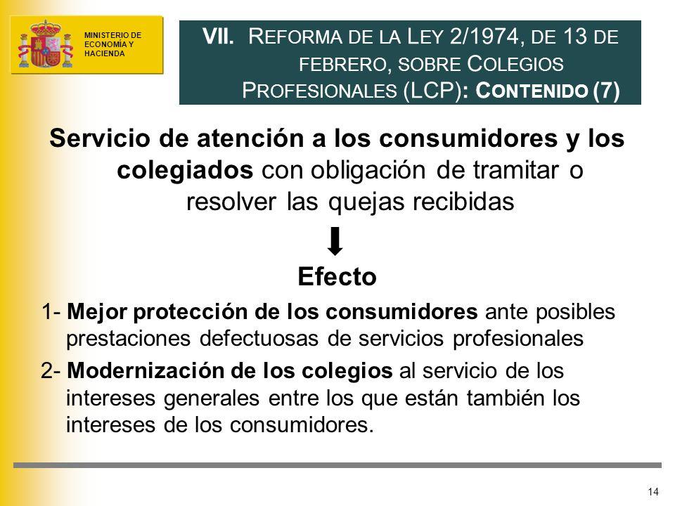 MINISTERIO DE ECONOMÍA Y HACIENDA Servicio de atención a los consumidores y los colegiados con obligación de tramitar o resolver las quejas recibidas