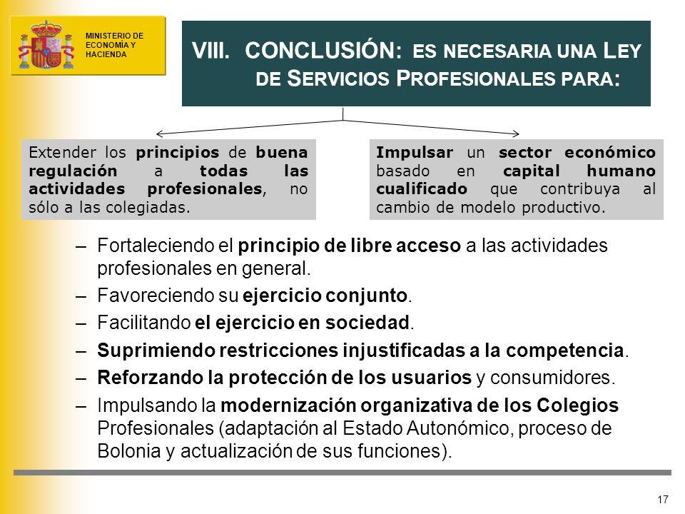 MINISTERIO DE ECONOMÍA Y HACIENDA –Fortaleciendo el principio de libre acceso a las actividades profesionales en general. –Favoreciendo su ejercicio c