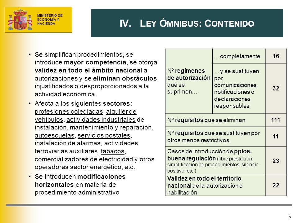 MINISTERIO DE ECONOMÍA Y HACIENDA 5 IV.