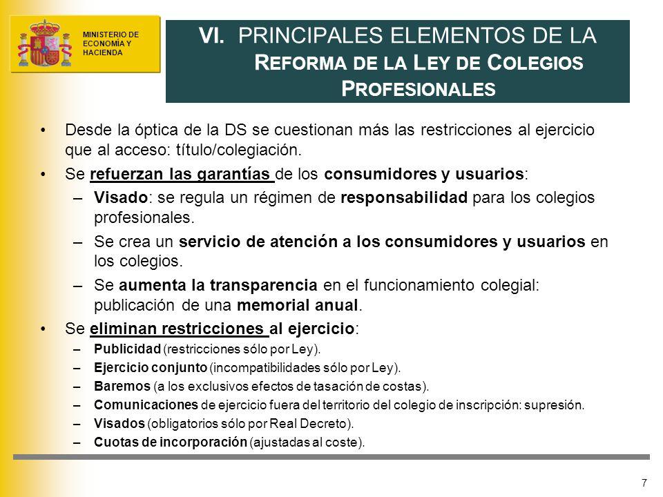 MINISTERIO DE ECONOMÍA Y HACIENDA Desde la óptica de la DS se cuestionan más las restricciones al ejercicio que al acceso: título/colegiación.