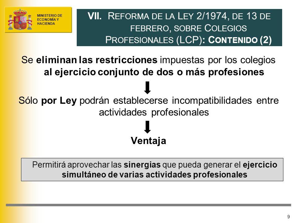 MINISTERIO DE ECONOMÍA Y HACIENDA Se eliminan las restricciones impuestas por los colegios al ejercicio conjunto de dos o más profesiones Sólo por Ley podrán establecerse incompatibilidades entre actividades profesionales Ventaja 9 VII.