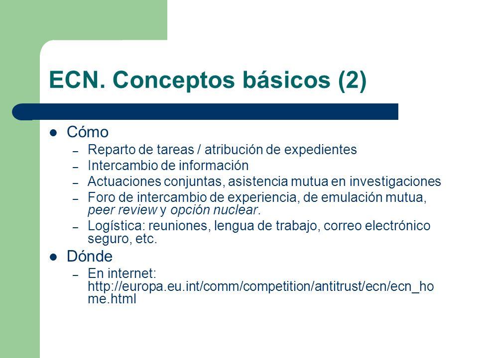 ECN. Conceptos básicos (2) Cómo – Reparto de tareas / atribución de expedientes – Intercambio de información – Actuaciones conjuntas, asistencia mutua
