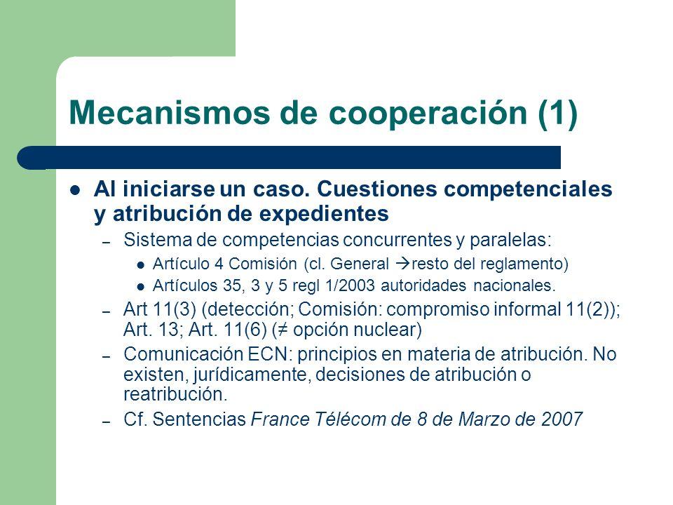 Mecanismos de cooperación (1) Al iniciarse un caso. Cuestiones competenciales y atribución de expedientes – Sistema de competencias concurrentes y par