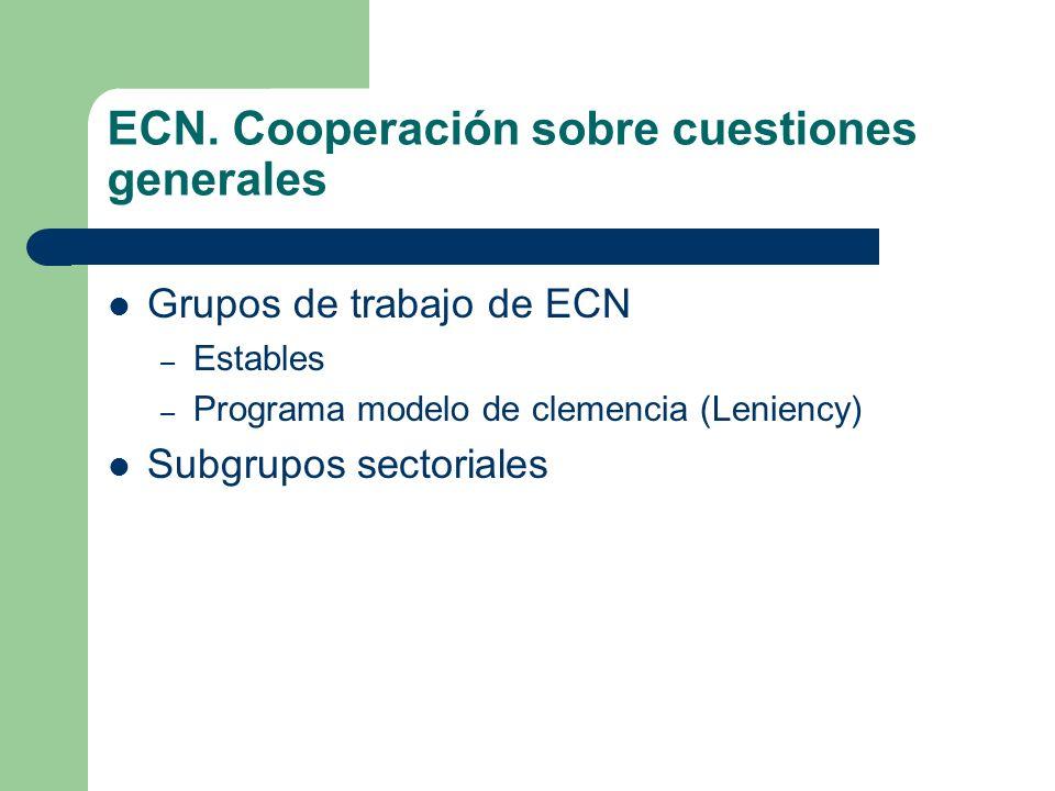 ECN. Cooperación sobre cuestiones generales Grupos de trabajo de ECN – Estables – Programa modelo de clemencia (Leniency) Subgrupos sectoriales