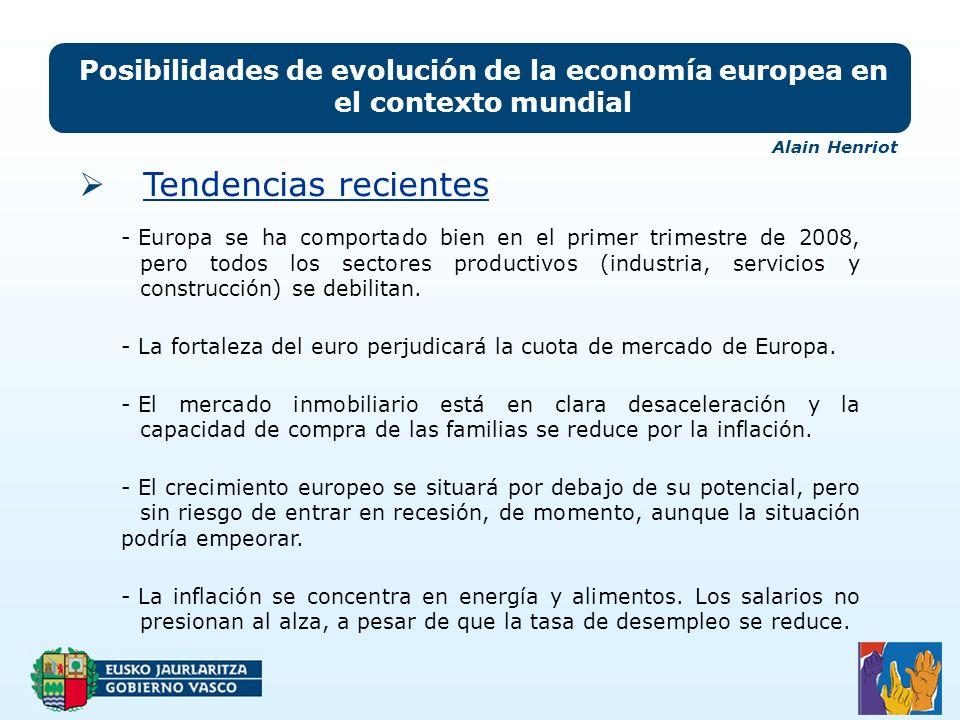 Posibilidades de evolución de la economía europea en el contexto mundial - Europa se ha comportado bien en el primer trimestre de 2008, pero todos los sectores productivos (industria, servicios y construcción) se debilitan.