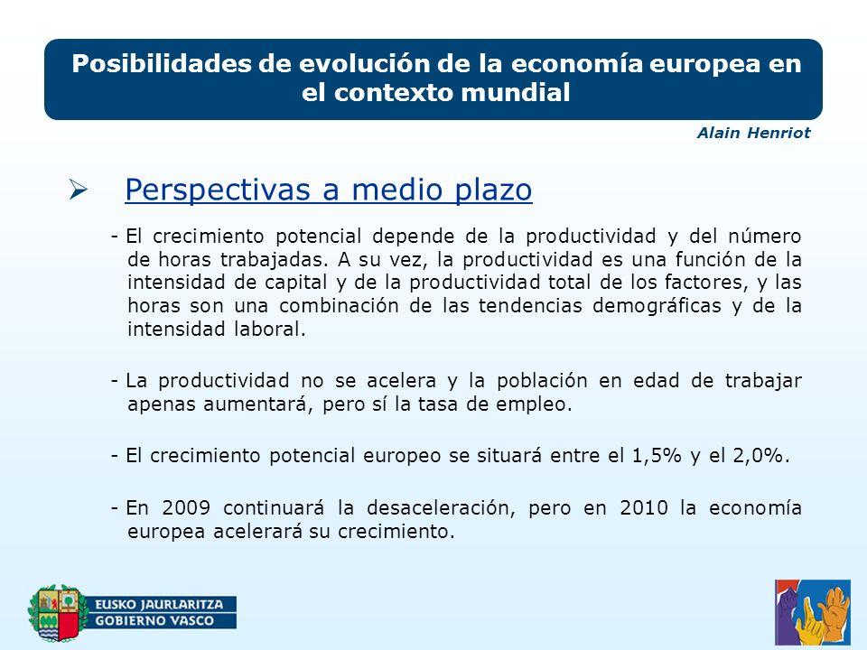 Posibilidades de evolución de la economía europea en el contexto mundial - El crecimiento potencial depende de la productividad y del número de horas