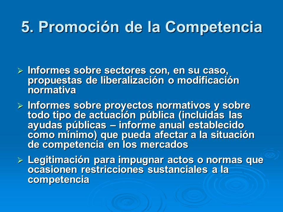 5. Promoción de la Competencia Informes sobre sectores con, en su caso, propuestas de liberalización o modificación normativa Informes sobre sectores