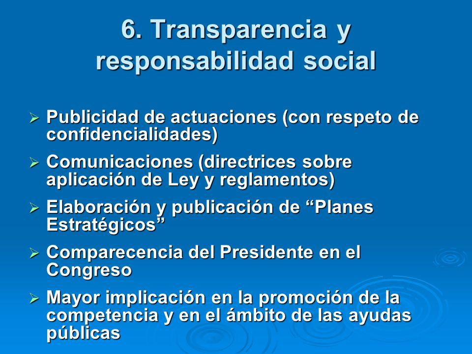 6. Transparencia y responsabilidad social Publicidad de actuaciones (con respeto de confidencialidades) Publicidad de actuaciones (con respeto de conf