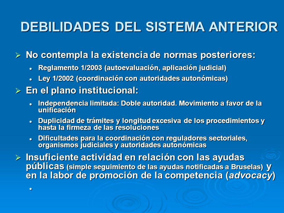 DEBILIDADES DEL SISTEMA ANTERIOR No contempla la existencia de normas posteriores: No contempla la existencia de normas posteriores: Reglamento 1/2003
