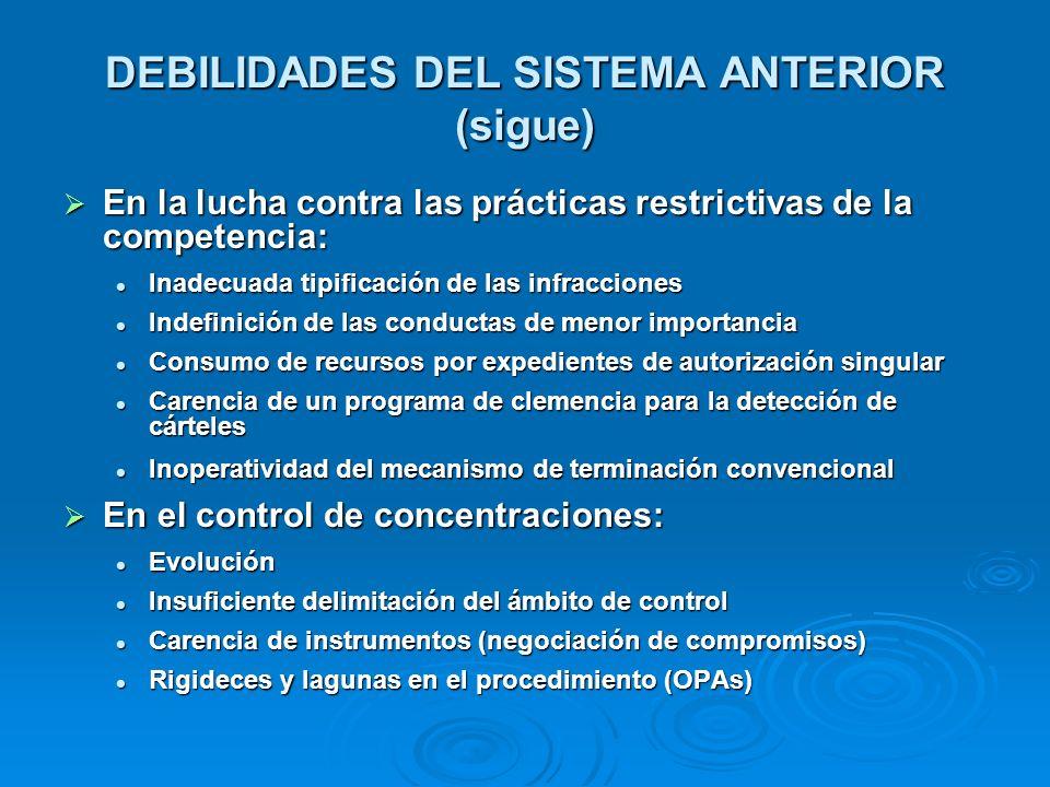DEBILIDADES DEL SISTEMA ANTERIOR (sigue) En la lucha contra las prácticas restrictivas de la competencia: En la lucha contra las prácticas restrictiva