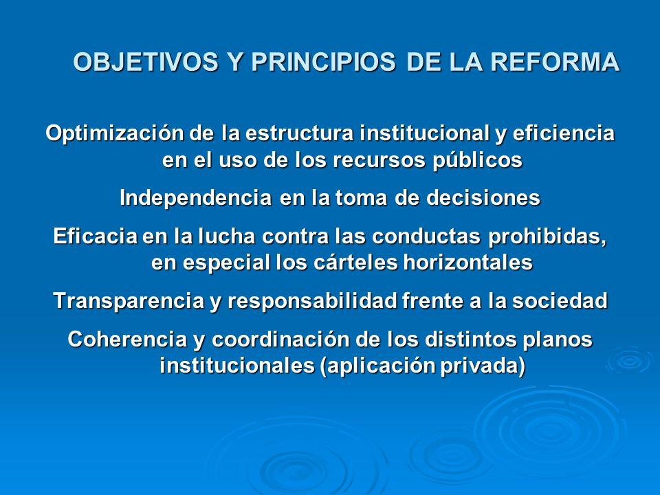 OBJETIVOS Y PRINCIPIOS DE LA REFORMA Optimización de la estructura institucional y eficiencia en el uso de los recursos públicos Independencia en la t