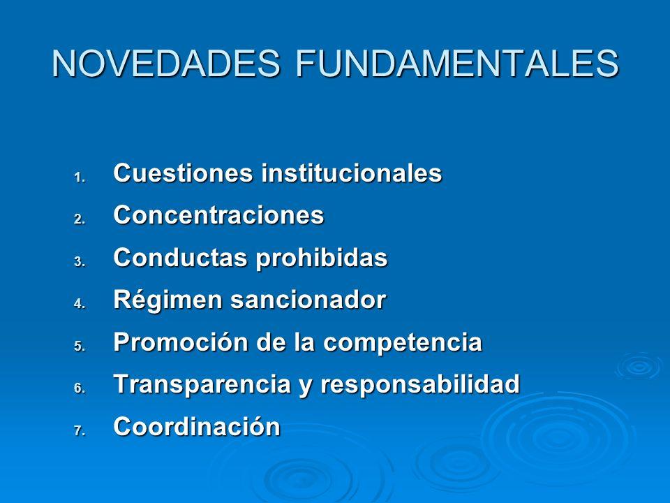 NOVEDADES FUNDAMENTALES 1. Cuestiones institucionales 2. Concentraciones 3. Conductas prohibidas 4. Régimen sancionador 5. Promoción de la competencia
