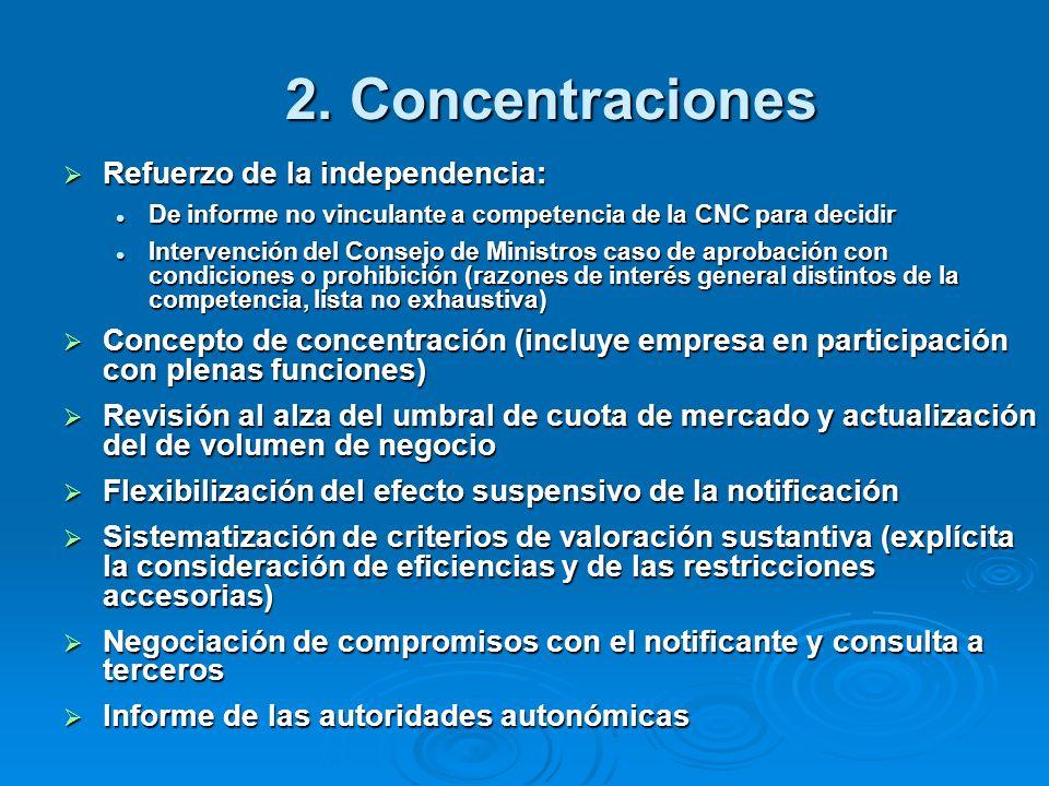 2. Concentraciones Refuerzo de la independencia: Refuerzo de la independencia: De informe no vinculante a competencia de la CNC para decidir De inform