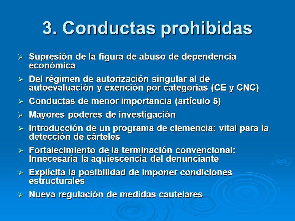 3. Conductas prohibidas Supresión de la figura de abuso de dependencia económica Supresión de la figura de abuso de dependencia económica Del régimen